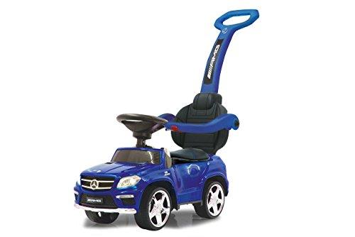 JAMARA 460307 - Rutscher Mercedes GL63AMG Blau 2in1 - Kippschutz, Kunstledersitz, Kofferraum, Schub- und Haltestange mit Rückenlehne / Schutzbügel, Licht vorne / hinten, Motorsound, Hupe, Musik