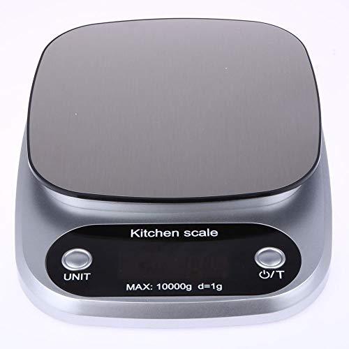 Keukenweegschaal Voedsel Bakgewicht Digitale LCD Elektronische weegschaal 10kg (zilver)