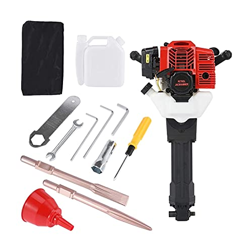 Bluetooth earphone 52CC Gas Jack Hammer, 2 Stroke Gas Powered Petrol Demolition Jack Hammer, One Man Earth Drill with Point and Flat Chisel, Punch Single Cylinder, Rock Rconcrete Walls Removal