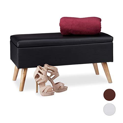 Relaxdays Panca Contenitore, 40 l, in finta pelle, con Gambe in Legno, Cassapanca Imbottita, Nero, HxLxP: 40 x 80 x 39,5 cm