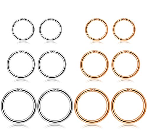 Thunaraz 3-4Pairs Stainless Steel 16G Sleeper Earrings Septum Clicker Nose Lip Ring Body Piercing (K:6Pairs RG)
