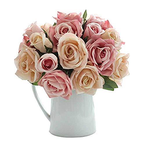 CQURE Künstliche Blumen,kunstblumen Unechte Deko Blumen Künstliche Rosen Seidenrosen Plastik 9 Köpfe Braut Hochzeitsblumenstrauß für Haus Garten Party Blumenschmuck (Rosa Champagner)