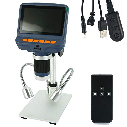 YaeCCC 4.3 inch 1080P LCD Digital USB Microscope with 10X-220X Magnification Zoom,Camera Video Recorder for Phone Repair Soldering Tool Jewelry Appraisal Biologic Use,8 LED Adjustable Light