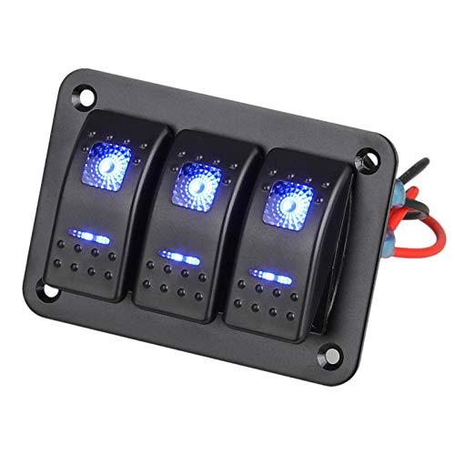 Linkstyle 3 Gang Auto Boot RV Marine Schalttafel Wippschalttafel mit blauem LED-Licht 5-polige EIN/AUS-Schalttafel mit DIY-Aufkleber-Set