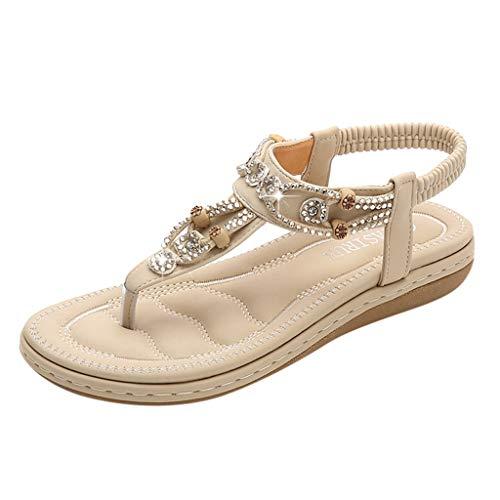 Sandales Facile à Assortir Femme,Honestyi Chaussures Bohême Chic Escarpins Plates Tongs de Plage Sandales Bout Ouvert Femme Chaussures Confortable Shoes Daim