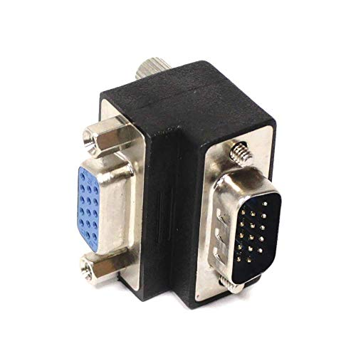 BeMatik - Adaptador VGA acodado izquierda HD15 macho hembra