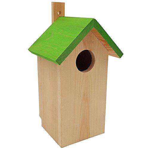 DILUMA Nistkasten Green 23 x 10 x 10 cm aus FSC Holz Nisthaus perfekt für Meisen Kohlmeisen Kleiber Rotschwänzchen und weitere Vogelarten Vogelnistkasten