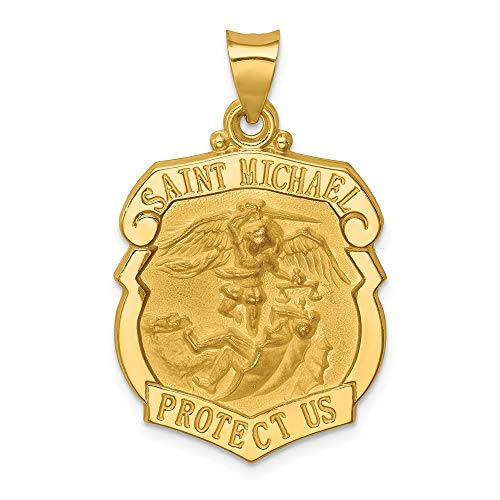 14k Yellow Gold Saint Michael Badge Medal Pendant Charm Necklace Religious Patron St Fine Jewelry For Women Gifts For Her