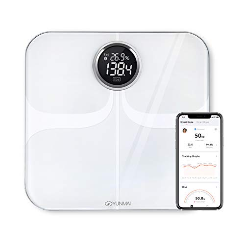 Báscula de Baño Inteligente Digital de Alta Medición Precisa, YUNMAI Premium Bascula Grasa Corporal Balanza Digital Baño con Bluetooth iOS Android App Análisis de10 Funciones 16 usuario 180kg(Blanco)