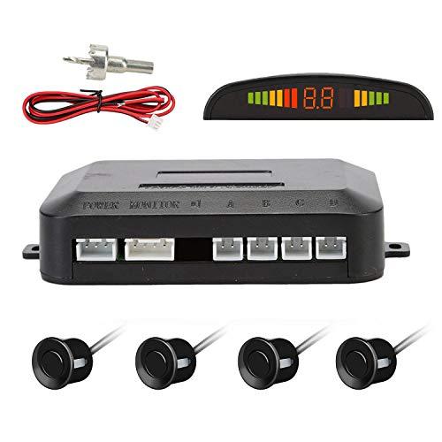 Sensores de Aparcamiento Marcha Atras,OSAN Kit de Auto LED Display + Alarma de Sonido + 4 Sensores Negro