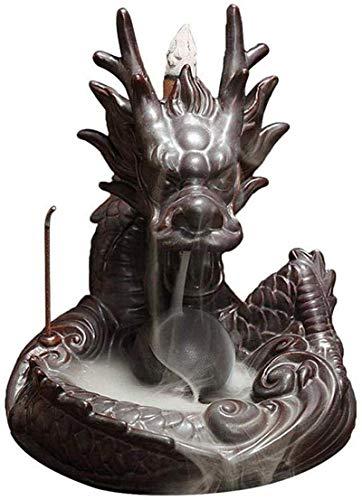 HYZXK Quemador de Incienso de reflujo de dragón de cerámica con Horno de aromaterapia de sándalo Dragon Ball para meditación de Yoga de Dormitorio de Estudio