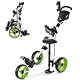 GYMAX 3 Wheel Golf Push Cart, Folding Golf Pull Trolley with Drink Holder Seat Scoreboard Bag, Lightweight Push Pull Golf Cart (Green)