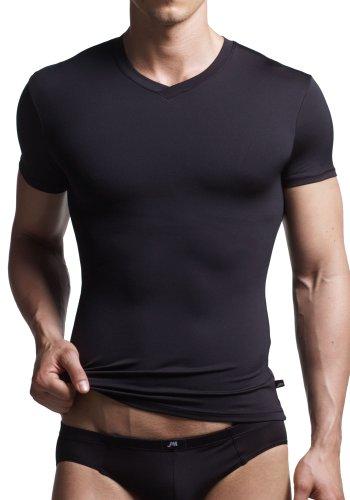 JM Skinz V-Neck T-Shirt - Soft and Silky Microfiber Fabric (Medium, Black)