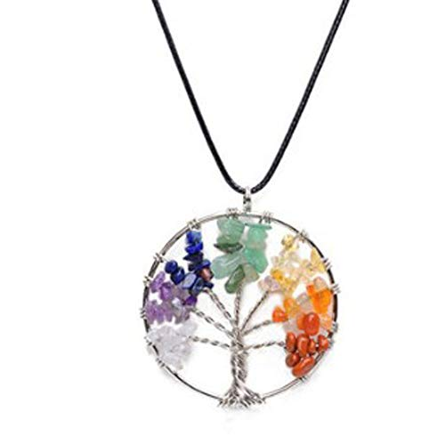 RQZQ Halskette Der Regenbogen-Baum der neuen Art-Frauen des Lebens hängende Halsketten-Mehrfarbenweisheits-Baum-Naturstein-Halskette