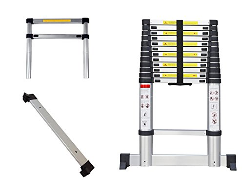 Leogreen - Telescopic ladder, Échelle Extensible, 3,8 mètre(s), Sac de transport OFFERT, EN 131, Barre stabilisatrice, Charge maximale: 150 kg, Taille repliée: 88 x 48.5 x 9 cm