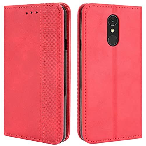 HualuBro Handyhülle für LG Q7 Hülle, LG Q7 Plus Hülle Leder, Magnetisch Stoßfest Schutzhülle Klapphülle Handytasche Flip Hülle Cover für LG Q7 / LG Q7+ Plus Tasche, Rot