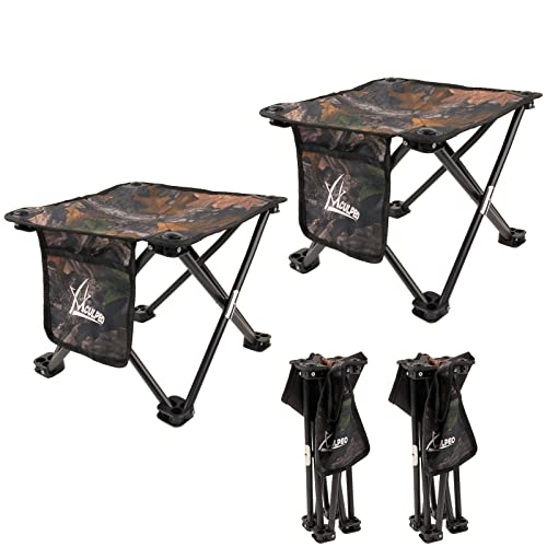 Camping Stool Small Short Folding Stool (2pack) Adjustable Camp Stool Collapsible Foldable Stool Equipment for Outdoor Fishing Gardening Travelling and Beach Adults Camping Seat with Carry Bag