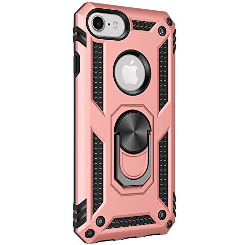 2Buyshop Compatible with iPhone 6s Plus Hülle, Dual Layer Handyhülle iPhone 6 mit Drehbar Ringhalter Anti-Fall Bracket-Rüstung Heavy Duty Defender iPhone 6 Plus Schutzhülle (Rotgold, iPhone 6/6s)