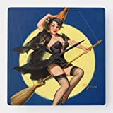 daoyiqi Classic Wood Clock, Non Ticking Clock Halloween Witch Pin Up Girl Square Wall Clock 12 Inch ...