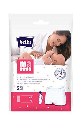 bella Mamma Wöchnerinnen Slips Größe M/L, 80 - 120cm, 4er Pack (4 x 2 Slips), elastisch, weich und hautverträglich
