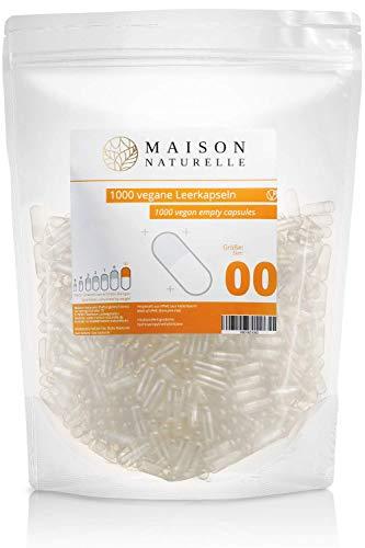 MAISON NATURELLE® Vegane Leerkapseln Gr. 00 (1000 Stück) – leere Kapseln zum Befüllen – aus HPMC hergestellt aus Kieferfaser – Non-GMO, Project V-Label, Kosher und Halal zertifiziert