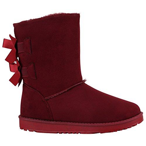 Damen Schlupfstiefel Warm Gefütterte Stiefel Winter Schuhe 152243 Dunkelrot 38 Flandell