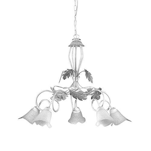 lampadario 90 cm ONLI - Lampadario 5 luci Marilena in metallo bianco spennellato argento. Paralumi in vetro bianco. Prodotto lavorato a mano in Italia. Ø 90cm x h 130cm
