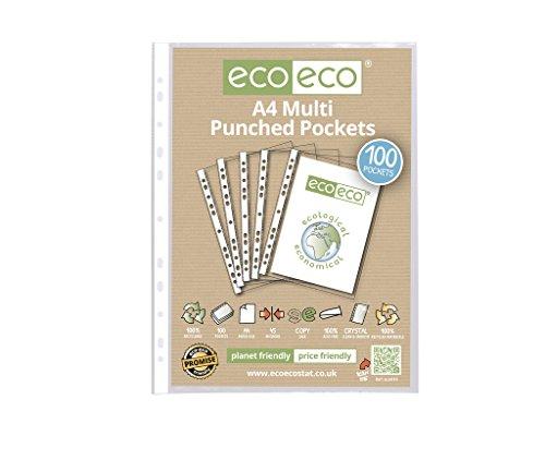 eco-eco A4 100% Reciclada Bolsa 100 Bolsillos Perforados Múltiples, transparente (eco010)
