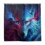 BALII Nebel Wolf Duschvorhang 182,9x 182,9cm Polyester Wasserdicht mit 12Haken für Badezimmer