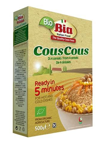 BIA - Cous cous Bio 4 Cereales, Cuscús Ecológico, Listo en 5 minutos, 500 g