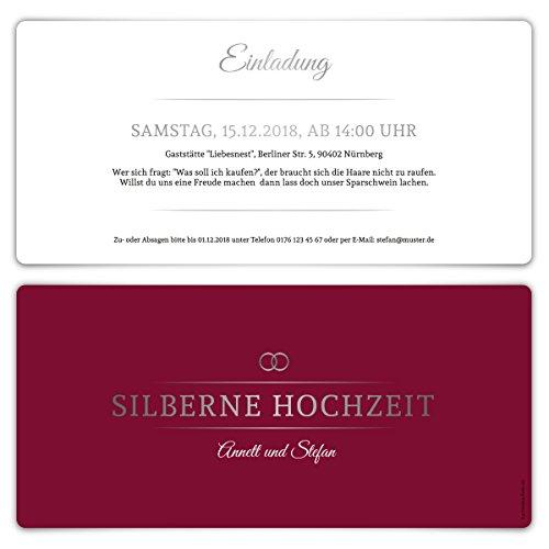 30 x Silberne Hochzeit Einladungskarten Silberhochzeit Einladungen 25 Jahre - Burgunder Silber