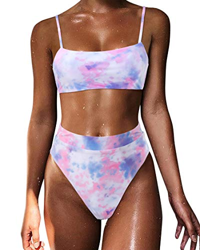 MOSHENGQI Women Tie Dye High Waisted Bikini Push Up Bandeau Swimsuits (M, Purple Pink)