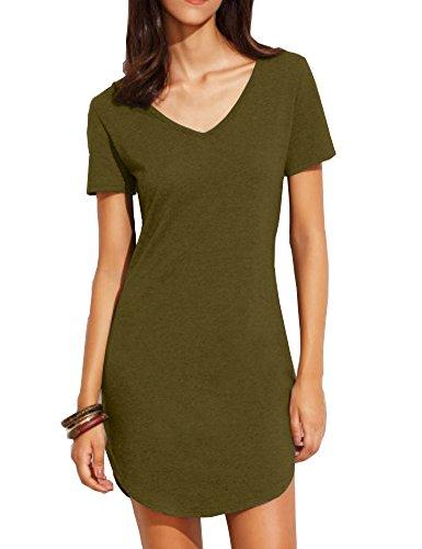 Haola Women's Casual Tops Dress Short Sleeve Shirts Dresses Juniors Dress Tops XL ArmyGreen