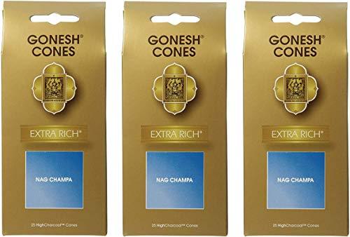 【3個セット】 ガーネッシュ(GONESH) インセンス コーン エクストラリッチ ナグチャンパ 25個入 (お香)