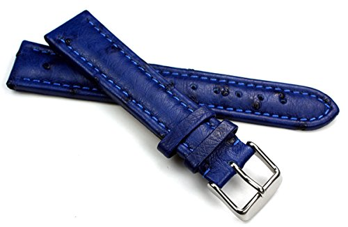 Sulla 22mm Strauß Leder Uhrenarmband blau Naht Ton in Ton