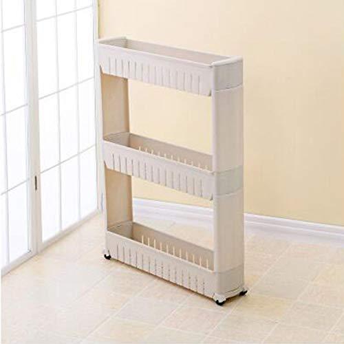1 / pcs lücke küche lagerregal regal schlanke rutsche turm beweglich montieren kunststoff bad regal räder raum 3 schichten hohe qualität (Color : Gray)