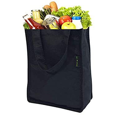 """8x4x10"""" Medium-Small Black Reusable Grocery Bags Made From Recycled Plastic Bottles, Grocery Shopping Tote, Fabric Shopping Bags, Eco- Friendly Gift Bags"""