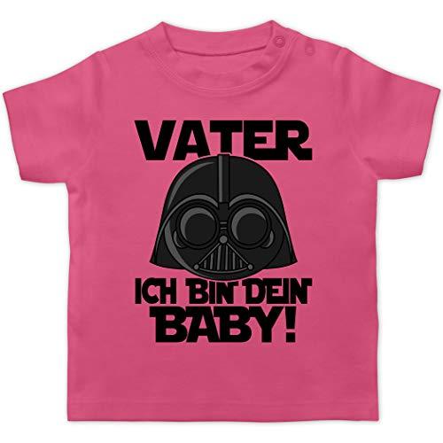 Vatertagsgeschenk Tochter & Sohn Baby - Vater ich Bin Dein Baby - schwarz - 3/6 Monate - Pink - Vatertag - BZ02 - Baby T-Shirt Kurzarm