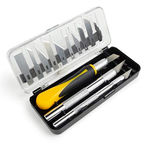 OfficeTree - Cutter Manualidades Set 16 Piezas - Escalpelo Cutter Precision por 3 Cuter diferentes y 13 Cuchilla de Repuesto - Bisturi...