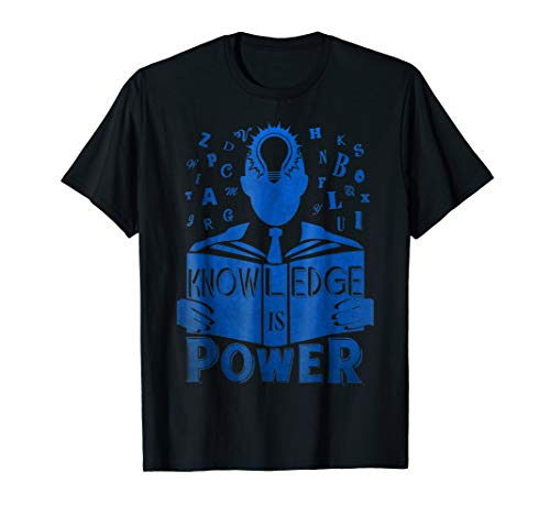 KNOWLEDGE IS POWER T SHIRT, READING BOOK LIGHT BULB DESIGN