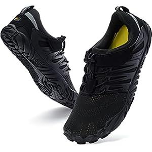 WHITIN Women's Minimalist Barefoot Shoes Zero Drop Sneakers Lifting Trail Running Five Fingers Size 6.5 7 Wide Toe Box for Female Ladies Width Gym Minimal Cross Trainning Hiking Trekking Black 37