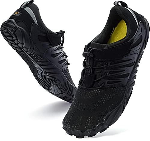 WHITIN Women's Minimalist Barefoot Shoes Low Zero Drop Climbing Lifting Trail Running 5 Five Fingers Size 9 9.5 Wide Toe Box for Female Lady Flat Heel Comfort Comfortable Treadmill Black 40