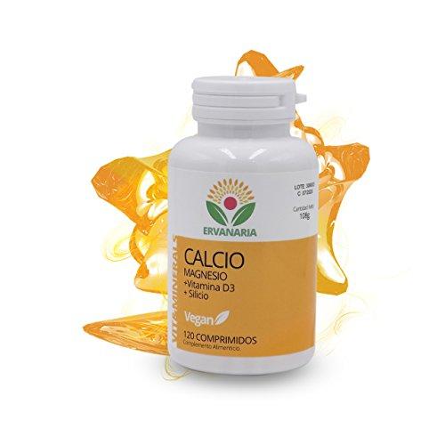 Calcio con Magnesio, Vitamina D3 y Silicio. 120 Cápsulas. Para la salud de huesos, dientes y articulaciones. Mejor estado de ánimo, combate el cansancio. Vit. D3 mejora el sistema inmunitario.