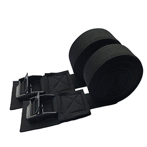 Tie Down Strap Padded Cam Lock Buckle - Cargo Straps for Moving Appliances, Lawn Equipment, Motorcycle SUP Kayak Surfboard Surf Rack - Black Pair