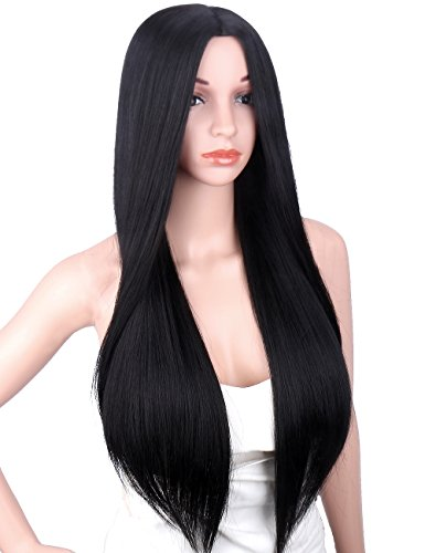 Kalyss 26 inches Long Silky Straight Yaki Heat Resistant Synthetic Black Hair Wigs for Women Middle Parting None Lace front Hair Replacement Wig