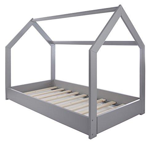 Velinda Kinderbett Hausbett Spielbett Abenteuerbett Einzelbett skandinavisches Design (Farbe: grau)