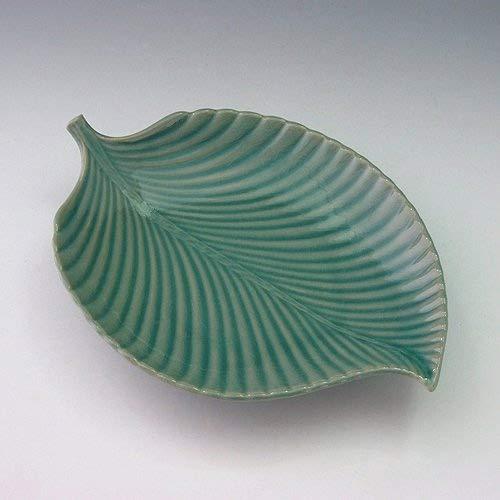 Assiette Plat Décoratif Ceramique Céladon Goryeo Corée Artisanat FEUILLE VERTE