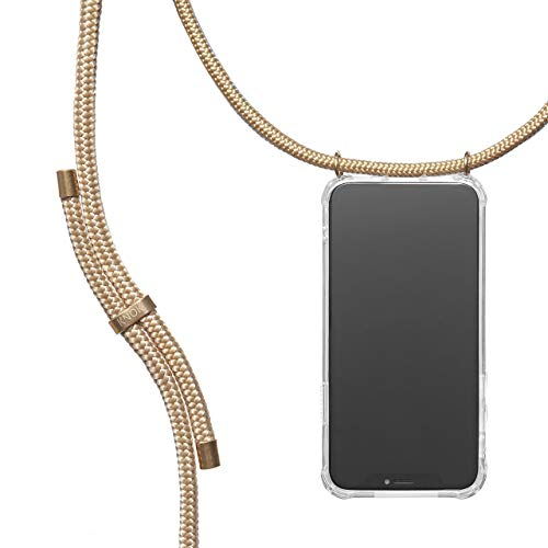 KNOK Case Handykette Kompatibel mit iPhone X/XS - Handy Hülle mit Kordel zum Umhängen - Phone Necklace in Gold