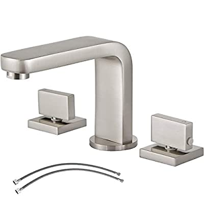 Hotis Stainless Steel 2 Handle 3 Hole Bathroom Faucet,Faucet Bathroom Sink Brushed Nickel with Hoses