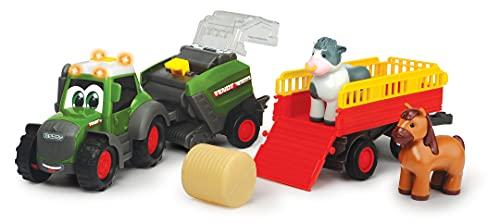 Dickie Toys ABC Fendt Diorama-Juego de Tractor, exprimidor Bolas de heno, Colgante de Animales, Vaca y Caballo, con luz y Sonido, para niños a Partir de 12 Meses, Multicolor (204118002ONL)